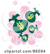 Royalty Free RF Clipart Illustration Of Money Bags Over Pink And White by mayawizard101