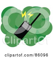 Royalty Free RF Clipart Illustration Of A Walkie Talkie Radio Over Green Bubbles