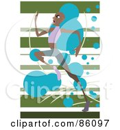Royalty Free RF Clipart Illustration Of A Black Sprinter Running Over A Green