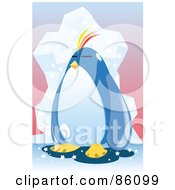 Royalty Free RF Clipart Illustration Of A Lonely Chubby Penguin By An Iceberg by mayawizard101