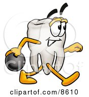 Tooth Mascot Cartoon Character Holding A Bowling Ball