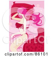 Royalty Free RF Clipart Illustration Of A Pink Haired Woman Sleeping On A Red Pillow