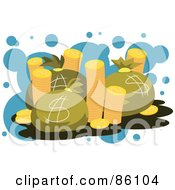 Royalty Free RF Clipart Illustration Of A Stacks Of Golden Coins And Money Bags by mayawizard101