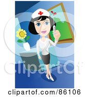 Royalty Free RF Clipart Illustration Of A Pretty Nurse Holding Up A Syringe By A Desk