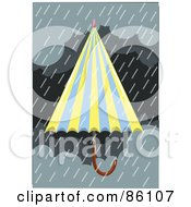 Royalty Free RF Clipart Illustration Of A Blue And Yellow Umbrella In A Storm by mayawizard101