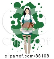 Royalty Free RF Clipart Illustration Of A Pretty Maid Carrying A Cooked Turkey by mayawizard101