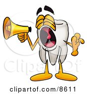 Clipart Picture Of A Tooth Mascot Cartoon Character Screaming Into A Megaphone