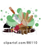 Royalty Free RF Clipart Illustration Of A Knife In A Bloody Turkey Bird