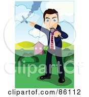 Royalty Free RF Clipart Illustration Of A Male Reporter Covering A Plane Crash Story