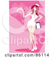 Royalty Free RF Clipart Illustration Of A Sexy Red Haired Nurse Posing With A Syringe by mayawizard101