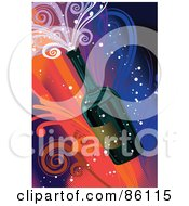 Royalty Free RF Clipart Illustration Of A New Year Bottle Of Champagne With Colorful Swirls