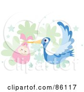 Royalty Free RF Clipart Illustration Of A Bundled Baby Girl Being Delivered By A Blue Stork