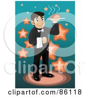 Royalty Free RF Clipart Illustration Of A Male Waiter Serving Hot Food by mayawizard101