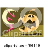 Royalty Free RF Clipart Illustration Of A Barking Halloween Pumpkin Under A Crescent Moon by mayawizard101