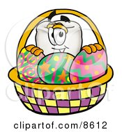 Tooth Mascot Cartoon Character In An Easter Basket Full Of Decorated Easter Eggs