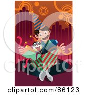 Royalty Free RF Clipart Illustration Of A Birthday Boy Opening A Jack In The Box by mayawizard101