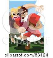 Two Rugby Players Playing A Game