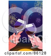 Couple Toasting To A New Year With Red Wine Under Fireworks