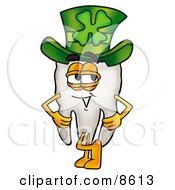 Tooth Mascot Cartoon Character Wearing A Saint Patricks Day Hat With A Clover On It