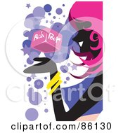 Royalty Free RF Clipart Illustration Of A Pink Haired Woman Viewing A Rich Or Poor Block by mayawizard101
