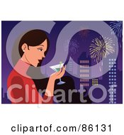 Royalty Free RF Clipart Illustration Of A Woman Drinking A Martini And Watching Fireworks Over A City