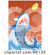 Royalty Free RF Clipart Illustration Of A Shark Leaping To Eat A Coin by mayawizard101