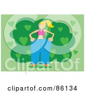 Royalty Free RF Clipart Illustration Of A Slim Blond Woman In Her Giant Fat Pants by mayawizard101