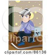 Royalty Free RF Clipart Illustration Of A Male Technician Kneeling And Wearing A Helmet