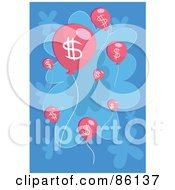 Royalty Free RF Clipart Illustration Of Pink Floating Dollar Symbol Balloons Over Blue by mayawizard101