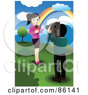 Royalty Free RF Clipart Illustration Of A Camera Man Recording A News Reporter By A Rainbow by mayawizard101