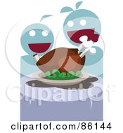 Royalty Free RF Clipart Illustration Of Two Hungry People Ready To Eat A Turkey Meal by mayawizard101