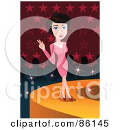 Royalty Free RF Clipart Illustration Of A Female Model Posing In A Pink Dress At The End Of A Cat Walk