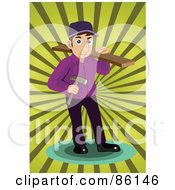 Royalty Free RF Clipart Illustration Of A Male Wood Worker Carrying Lumber And A Hammer