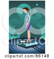 Royalty Free RF Clipart Illustration Of A Slender Woman Standing On A Weight Scale