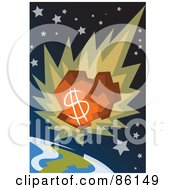 Royalty Free RF Clipart Illustration Of A Money Comet Plummeting Towards Earth