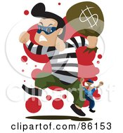 Royalty Free RF Clipart Illustration Of A Bank Robber Running With A Bag Of Money Being Chased By A Cop by mayawizard101
