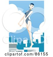 Female Swimmer Standing On A Diving Board