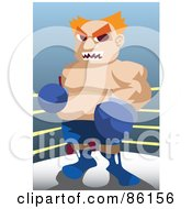 Royalty Free RF Clipart Illustration Of A Tough Chubby Male Boxer In The Corner Of A Ring by mayawizard101