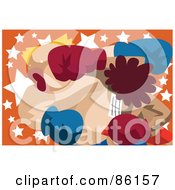 Royalty Free RF Clipart Illustration Of A Couple Of Boxers In A Cross Counter Knockout