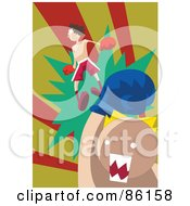 Royalty Free RF Clipart Illustration Of A Man Being Knocked Off His Feet During A Boxing Match by mayawizard101