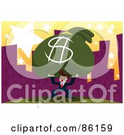 Royalty Free RF Clipart Illustration Of A Businessman Trying To Carry A Giant Money Bag Through A City