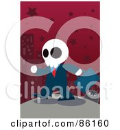 Royalty Free RF Clipart Illustration Of A Ghostly Businessman Walking By A Gravestone In A Red Starry City by mayawizard101