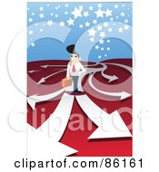Royalty Free RF Clipart Illustration Of A Businessman Standing On Arrows That Fork Off Into Different Directions by mayawizard101