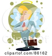 Royalty Free RF Clipart Illustration Of A Blond Businessman With Angel Wings And A Halo Holding His Hand To His Ches by mayawizard101