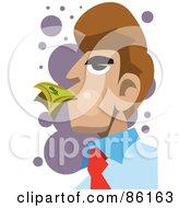 Royalty Free RF Clipart Illustration Of A Brunette Businessman Eating Cash