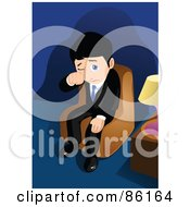 Royalty Free RF Clipart Illustration Of A Sad Businessman Sitting In A Chair And Crying by mayawizard101