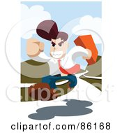 Royalty Free RF Clipart Illustration Of A Determined Businessman Running On A White Path