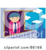 Royalty Free RF Clipart Illustration Of A Caucasian Businessman Gazing Out His Highrise Window