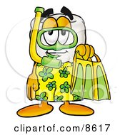 Tooth Mascot Cartoon Character In Green And Yellow Snorkel Gear