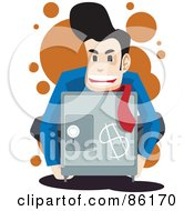 Royalty Free RF Clipart Illustration Of A Businessman Holding A Safe With A Dollar Symbol